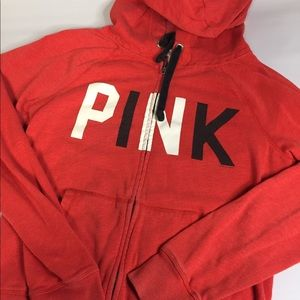 Pink Victoria Secret Red Hooded Jacket Small.